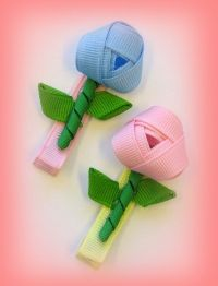 free rosebud hairbow clip instruction