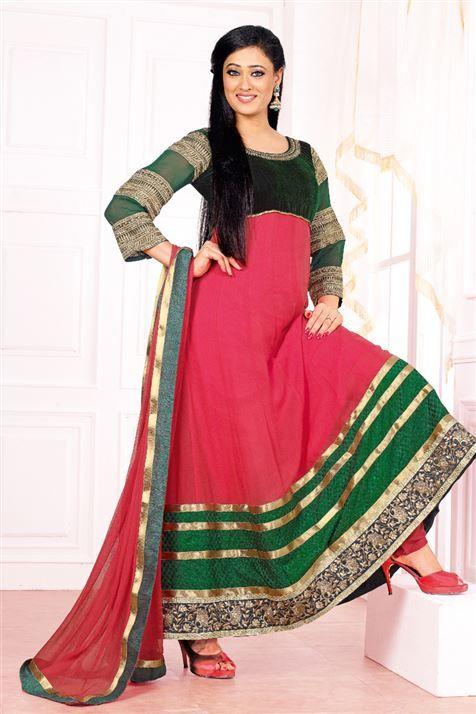 Designer Shweta Tiwari Dark Pink Green Long Anarkali Party wear Salwar Suit