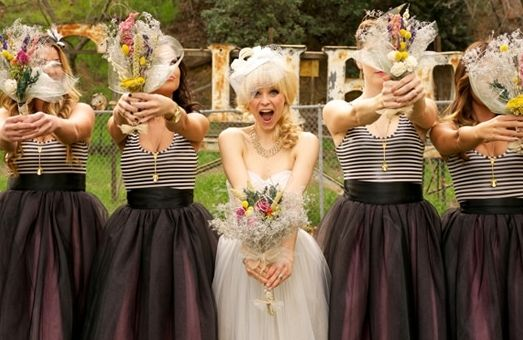 funky stripe and tulle bridesmaids | Beautiful Bridesmaids ...