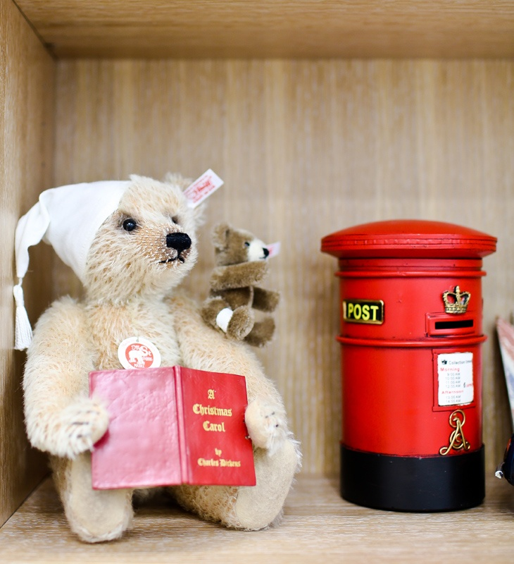 "Steiff collectible teddy (reading ""A Christmas Carol"") and British post box collectible by TG, from Notting-Hill.ca. Enter to win a $ 300 #NottingHill gift card http://theprov.in/nottingcontest #contest"