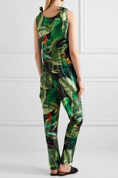 Max Mara - Printed Silk-twill Jumpsuit - Green - UK12