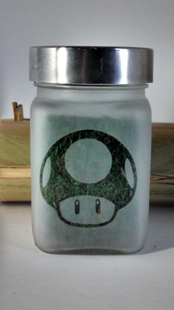 EASTER SUNDAY SALE!  $19.99 reg. $24.99 Power Up Mushroom Etched Glass Stash Jar  Super by Twisted420Glass