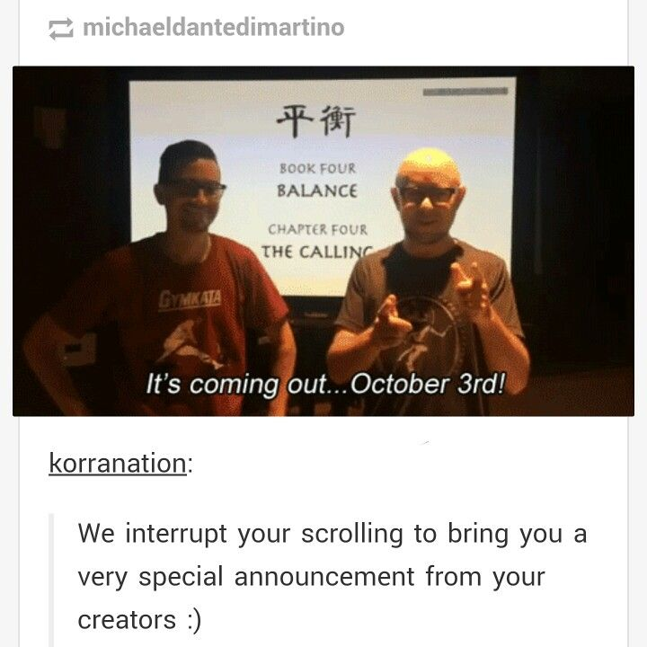 SO SOON! Legend of Korra Book 4 comes out Oct 3, 2014! I'm happy and sad all at once!