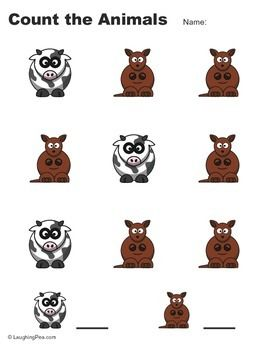 Full set of 40 printable pages for your students to practice counting cartoon animals. There are 10 pages each of 9, 16, 25, and 36 animals.