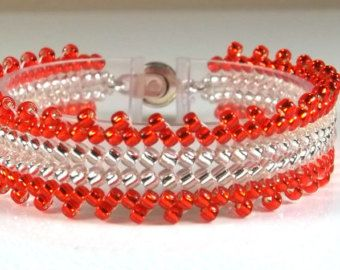 Herringbone Bead Woven Cuff Bracelet with Clear by BeBoDesigns
