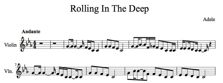 rolling in the deep violin sheet music pdf