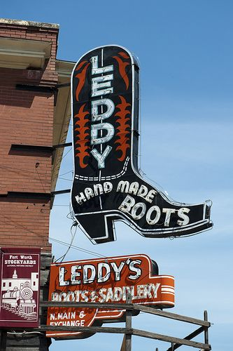 Leddy's Fort Worth, Texas  One of the many boot shops to do some shopping.  Main & Exchange, Stockyards