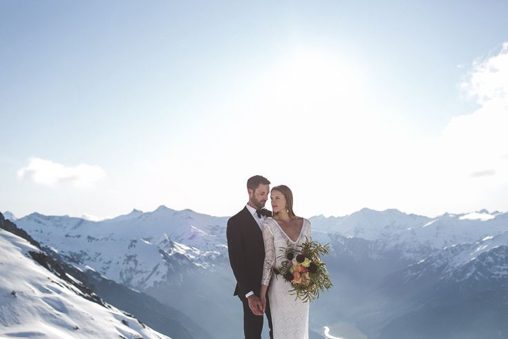Fog Peak Heli-Wedding, Wanaka, New Zealand. With spectacular views of Mt Aspiring, Glaciers and the Matukituki River, Alta Tarns sits on the Buchanan Mountain Range at approximately 4500ft. The tarns are covered in snow from June to October.  For more information about how to book your Alta Tarns Heli-Wedding see www.theweddingcompany.co.nz or email us at info@theweddingcompany.co.nz.