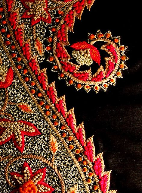 Kashida paisley by soulquest.lifestyle, via Flickr. Embroidery in red and black.