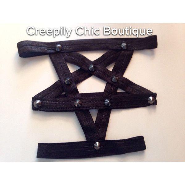 Pentagram Garter With Metal or Spiked Studs ($10) ❤ liked on Polyvore featuring intimates, black, garter belts, hosiery, women's clothing, suspender belt and garter belt