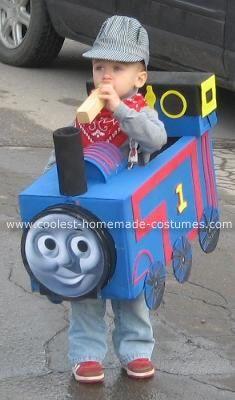 Homemade Thomas the Train Costume @Monica Scott