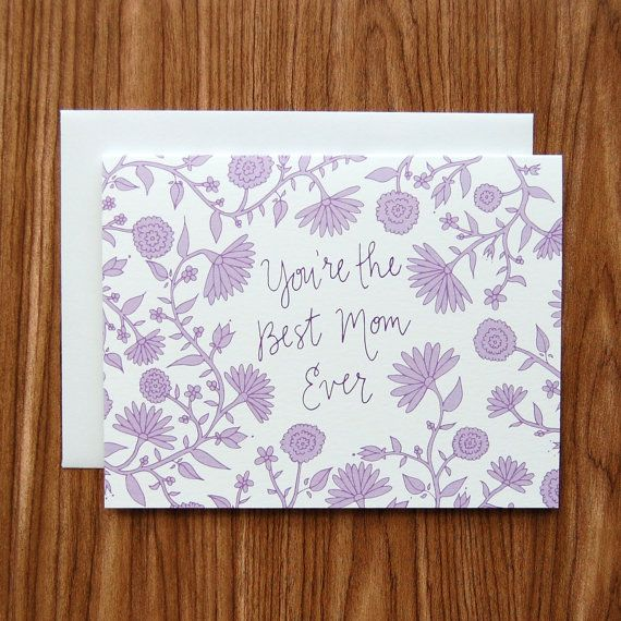 Tell your Mom shes the best with this card featuring hand-drawn lavender flowers…