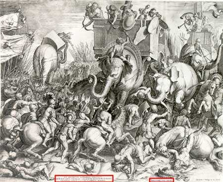 The battle of Zama where Publius Cornelius Scipio Africanus defeated Hannibal in 202 B.C., ending the 16 year long Second Punic War.
