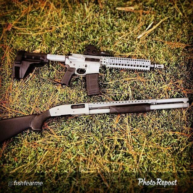 AR15 and Shotgun matched set refinished using DuraCoat Firearm Finishes.