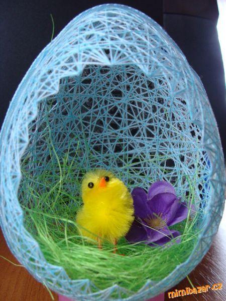 Красивые пасхальные яйца из ниток своими руками фото 3