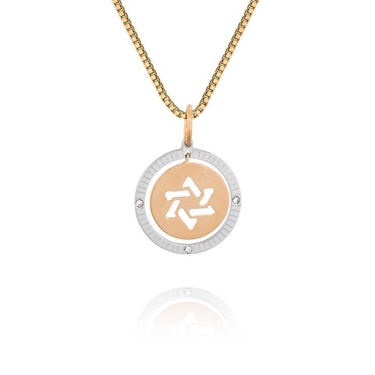 Pingente Estrela de Davi Ouro Amarelo Ouro Branco e Diamantes Medalhas