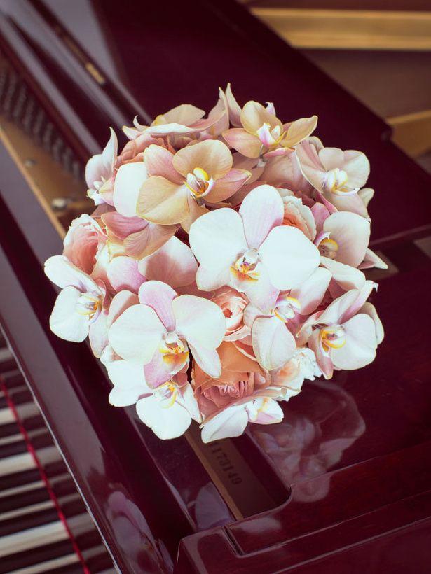 高級感のあるシックなコチョウランを集めたエレガントな花束高級感があり、上品な花の代表であるコチョウラン。なかでも淡いピンクやベージュの花はと...