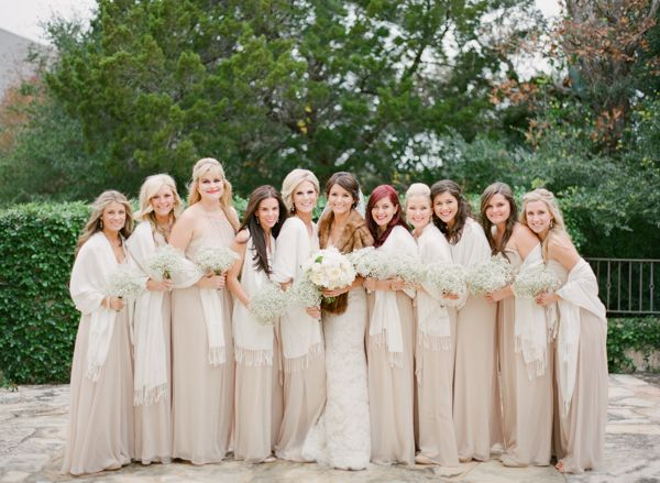 beautiful long, tan bridesmaid dresses with wraps | Loft Photographie #wedding