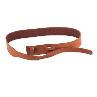 Leather belt, 'Classical Tan' - Tan Brown Leather Belt for Women in Modern Design (image 2b)