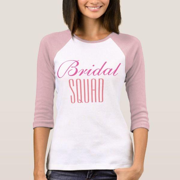 "T-shirt ""Bridal squad"" lange mouwen. (roze)"