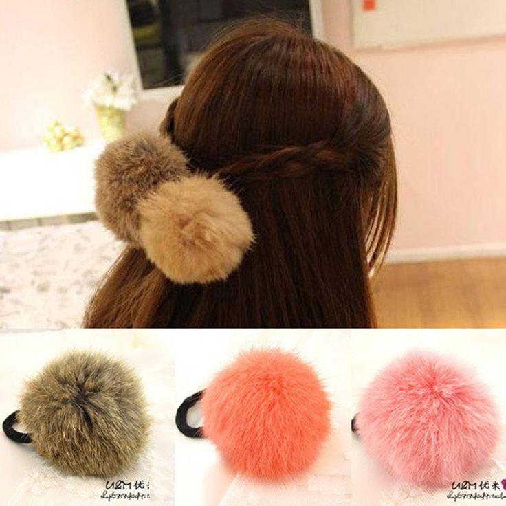 Hot Sale Korean Style Girls Cute Trendy Soft Fake Rabbit Fur Elastic Hair Rope Hair Band  Hair Accessories