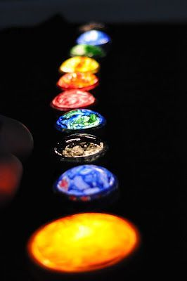 Paint push lights to make your very own solar system. This looks so cool hanging on the way {illuminated planets}