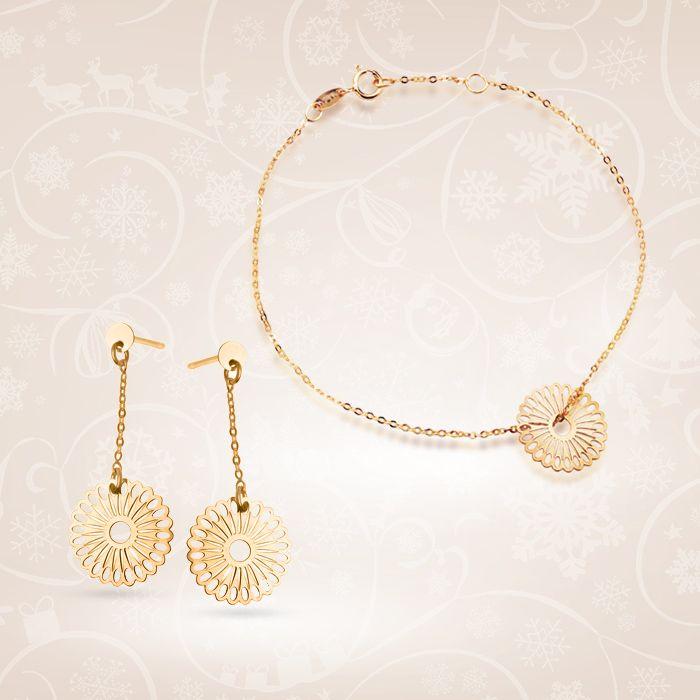 Złoty komplet z kolekcji Fiorentina, składający się z kolczyków oraz bransoletki.   Cena: 898 PLN  http://www.yes.pl/51500-zloty-komplet-fiorentina-KOMPLET-ZFA8569-ZDA8569