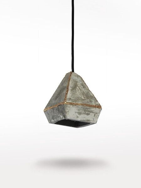 Ceiling Lights – Geometric concrete lamp with golden edges – a unique product by LumiLamp on DaWanda