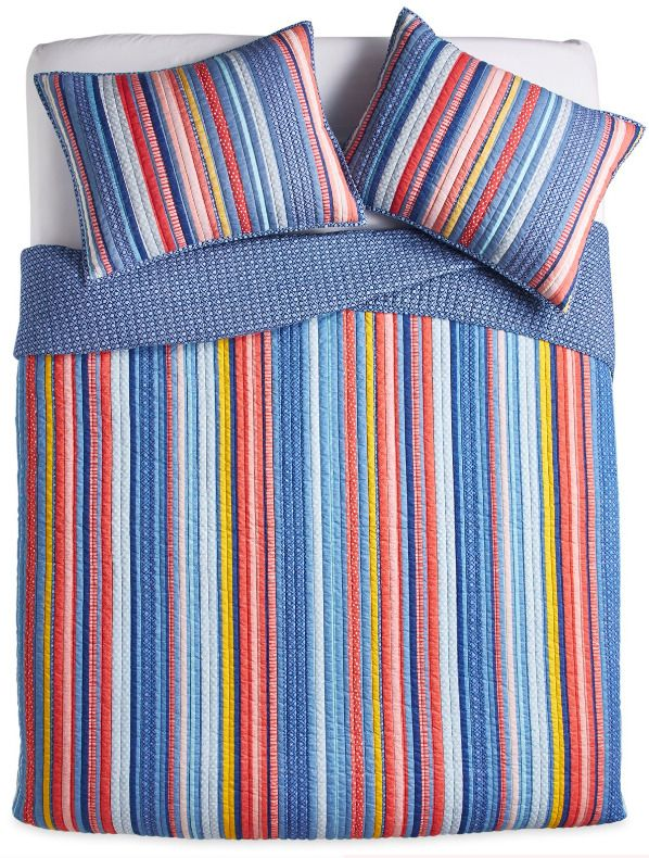 Striped Bed Quilt W Shams Set Soft Cotton Bold Color Blue Red Yellow Stripe 3 Pc Pwoman Country Striped Bedding Bed Quilt Bedding