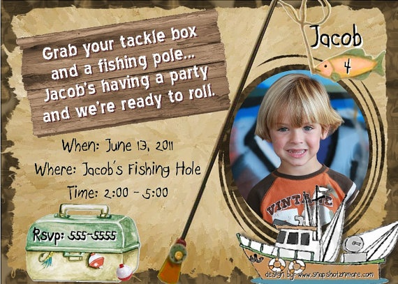 Fishing invitation birthday party photo invite hunt fish for Fishing birthday invitations