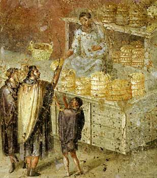 Wall painting found in Pompeii depicting a Roman bakery                                                                                                                                                                                 More