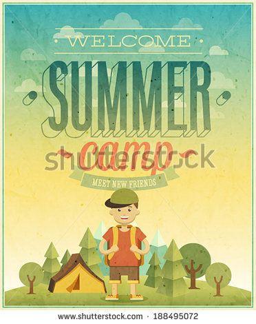 Summer camp poster. Vector illustration. by avian, via Shutterstock