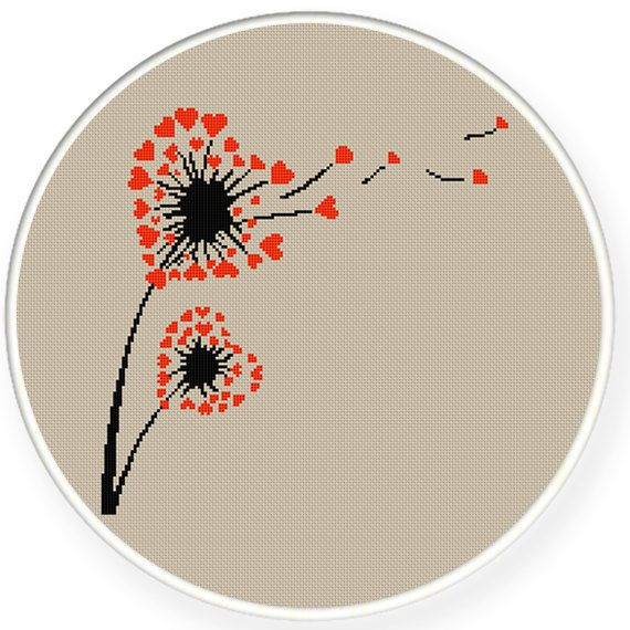 Instant Download,Free shipping,Cross stitch pattern, PDF,heart dandelion pattern 2,ZXXC0328