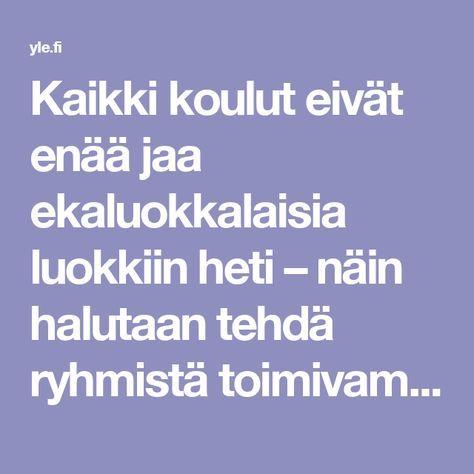 Kaikki koulut eivät enää jaa ekaluokkalaisia luokkiin heti – näin halutaan tehdä ryhmistä toimivampia | Yle Uutiset | yle.fi