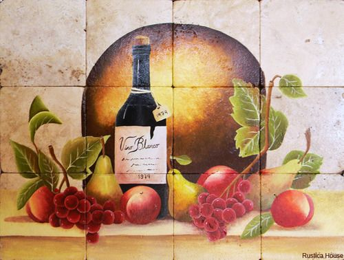 "A rustic tile mural looks pretty on a kitchen wall backsplash, bathroom wall or table-top. Red Wine mural sku 19105 is available in custom made dimensions. rustic tiles can be also installed in swimming pools, fountains and outside of the buildings. Tile Mural ""Red Wine"" by Rustica House. #RusticaHouse"