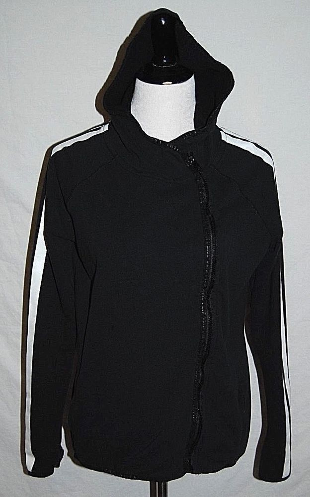 f5ba7253ae128 PINK Victoria Secret Womens Small Black White Zip Up Hoodie ...