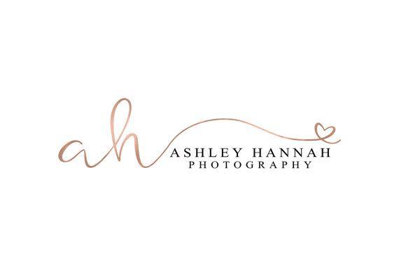 Rose Gold Foil Initial Photography Logo Design Heart Logo Fancy Photography Logo…