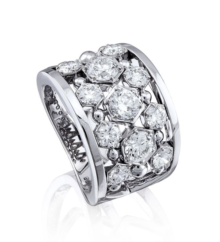 A stunning, creative cocktail ring from Boodles' new Circus collection ~ Set with 2.42ct of round brilliant cut diamonds, in 18ct white gold.