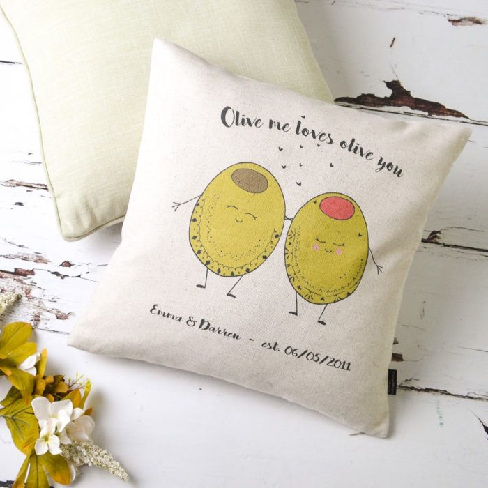 Olive Oliveyou Iloveyou Pun Punny Cushion Couple Gift
