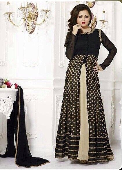 Drashti Dhami Black Front Cut Georgette Designer Anarkali ...