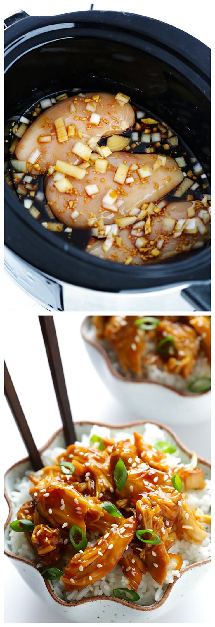 Slow Cooker Teriyaki Chicken -- easy to make, and perfect for serving over rice, or in sandwiches, or whatever sounds good! | gimmesomeoven.com