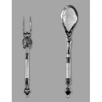 15th century (made); Spoon and fork; Rock-crystal and silver gilt. Both spoon and fork have enamelled knobs set with pearls. The spoon is also set with a garnet.  Flemish (?); The fork prongs are later; From the Pourtalès collection   Museum number: 84-1865  Gallery location: In Storage
