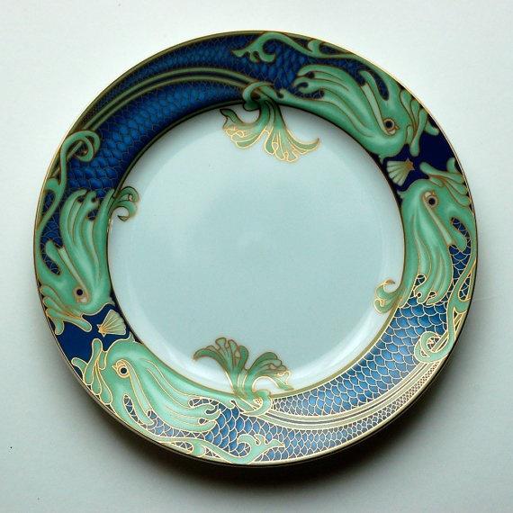 Vintage Green Dolphin Street Fitz Floyd Fantasy Sea Art Plate & 15 best China - Fitz \u0026 Floyd images on Pinterest   Bunnies Bunny ...
