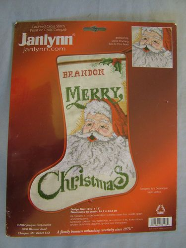 Janlynn Counted Cross Stitch Merry Christmas Stocking Kit Number  078-0106 Santa Stocking