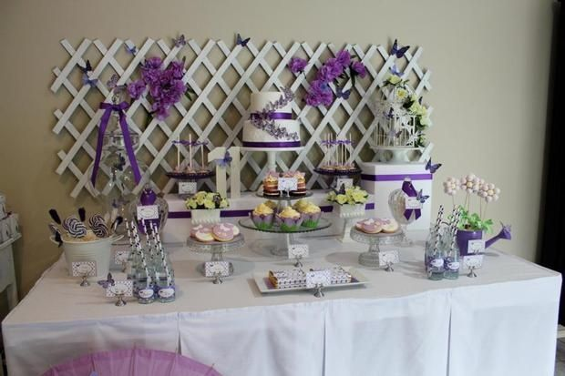 Butterfly party purple and white birthday party ideas for Baby shower butterfly decoration ideas