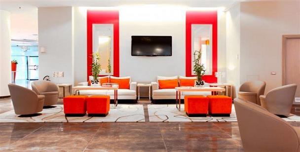Orange hotel. Ramada Plaza hotel, Milan, Italy.