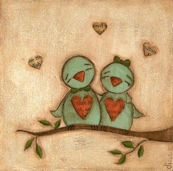Love Birds 3 Print Set from my original folk art by DUDADAZE