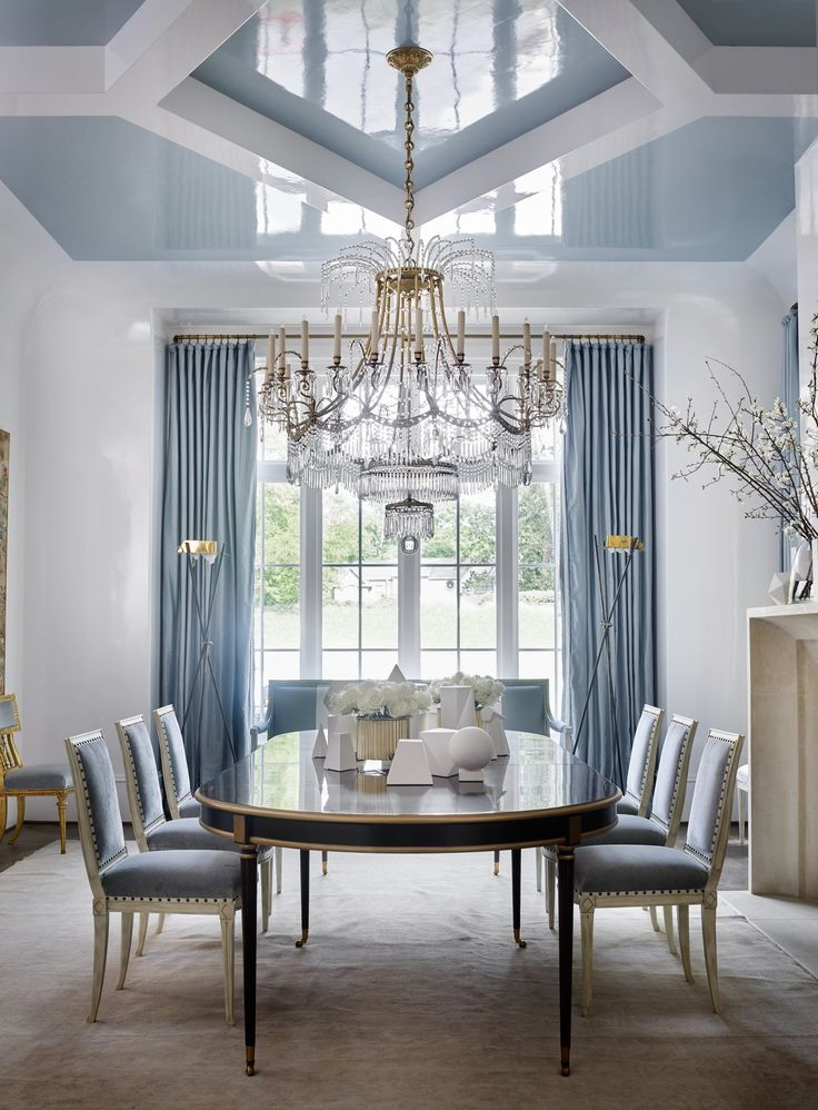 Southeastern Showhouse Blue Dining Room Dining Contemporary Eclectic by Suzanne Kasler Interiors