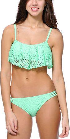 Malibu Mint Crochet Flounce Bikini Top at Zumiez : PDP