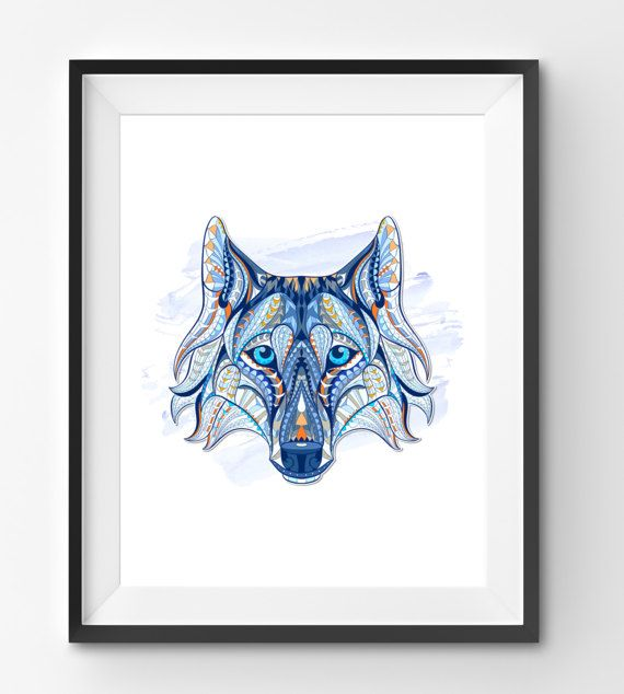 Colorful Wolf Art Wolf Wall Art Mosaic Wolf Print Animal